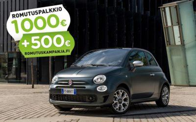 FIAT 500 HYBRID – 1 500 € ROMUTUSPALKKIO